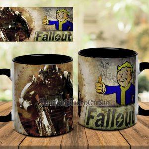 Черная кружка Fallout на столе