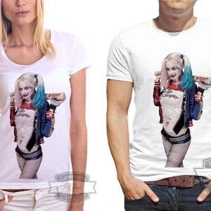 мужчина и женщина в футболке Harley Quinn
