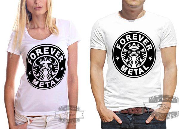 Мужчина и девушка в рок футболке