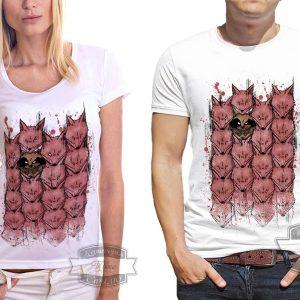 Мужчина и женщина в футболке с лисами