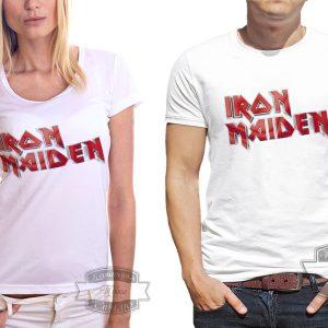 Мужчина и женщина в футболке Айрон мейден