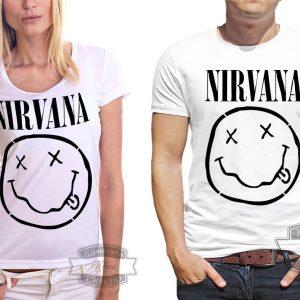 мужчина и женщина в футболке нирвана