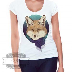 девушка в футболке с лисом