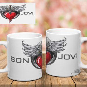 белая кружка с принтом Bon Jovi