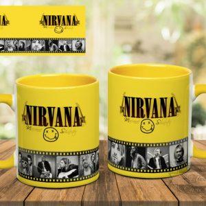 желтая кружка с принтом Nirvana