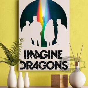 картина Imagine Dragons на желтой стене