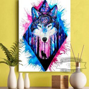 Картина с волком на стене