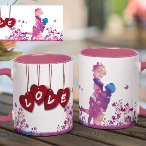 розовая кружка с сердечками