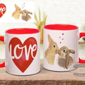 кружка с кроликами и сердцем