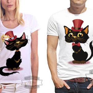 пара в футболках с кошками