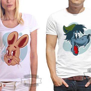 мужчина и женщина в футболке с животными