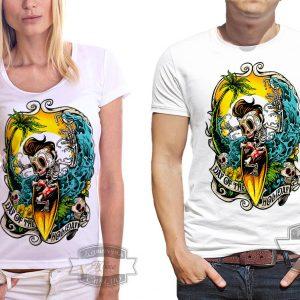 футболка с скелетом на серфе
