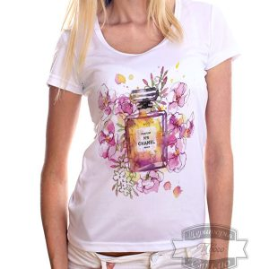 Футболка парфюм Шанель 5 в цветах