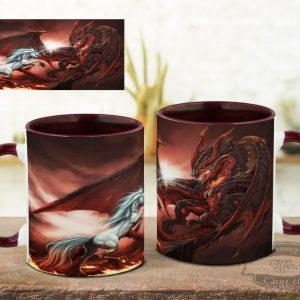 Кружка с единорогом и драконом