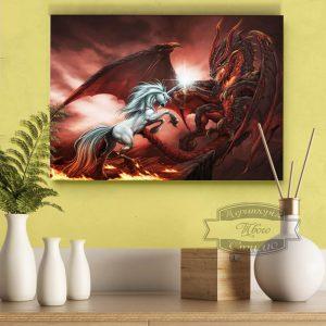 постер дракон против единорога