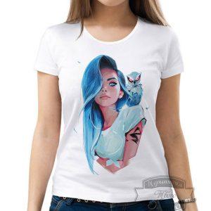 Футболка девушка с голубой совой