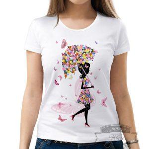Футболка девушка с цветами и бабочками
