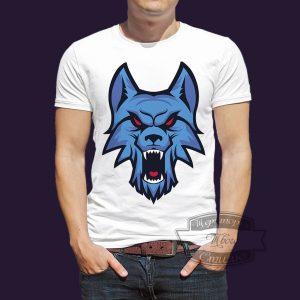 Футболка синий волк