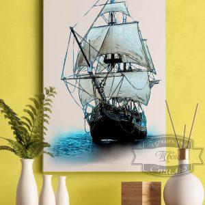 картина с кораблем