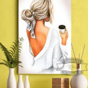 картина девушка с чашкой кофе