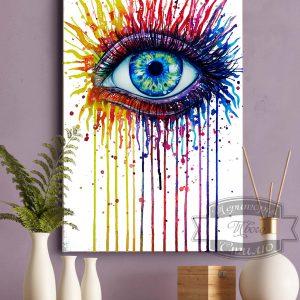 постер а3 на ткани глаз в красках