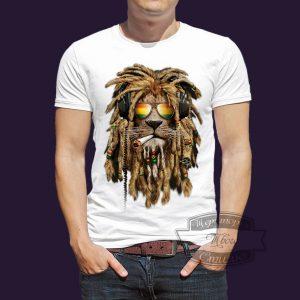 футболка лев растаман