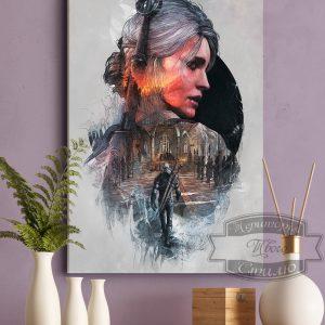 постер картина Цири и Геральт