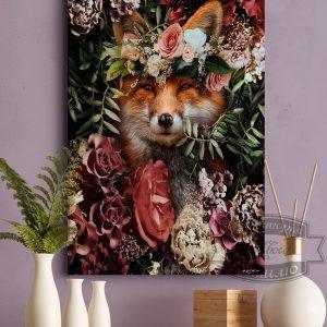 постер лиса в цветах