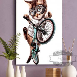постер кот на велосипеде