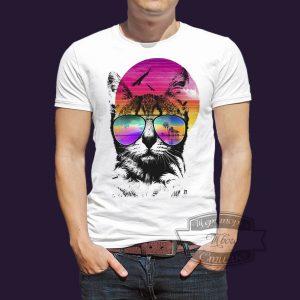футболка котик на отдыхе