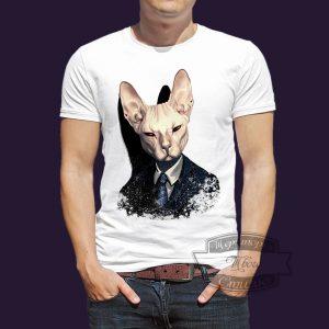 футболка с котом сфинкс с галстуком