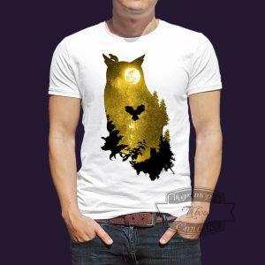 футболка сова на ночной охоте