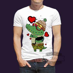 футболка влюбленный крокодил рыбак