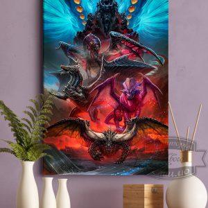 постер на ткани герои Годзилла