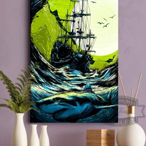 постер картина корабль и акула в бушующем море