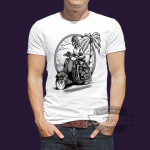 футболка cкелет на мопеде