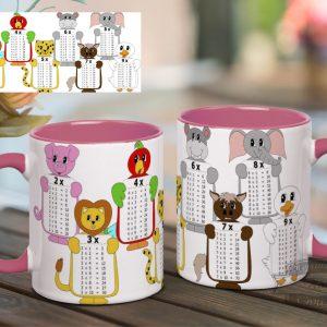 чашка з табличкою множення для дівчаток