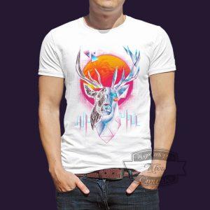 футболка олень в стиле геометрик