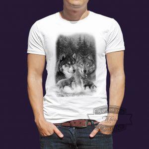 футболка семья волка