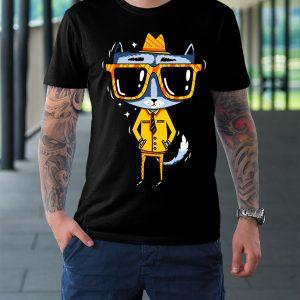 футболка черная кот в очках и шляпе