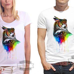 Футболка сова в радужных красках